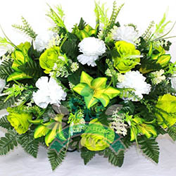 Lime Green Roses Lilies with White Carnations Cemetery Saddle