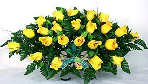 Yellow Roses Cemetery Tombstone Saddle Arrangement