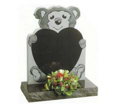 bear wth heart headstone