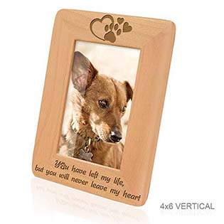 Paw prints on my Heart Memorial Wood Picture Frame