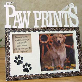 paw print dog memorial photo frame