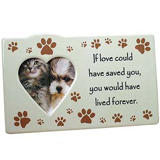 Ceramic Heart Shaped Pet Memorial Picture Frame