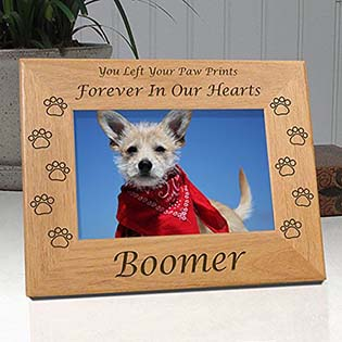 Dog Memorial Engraved Wood Picture Frame