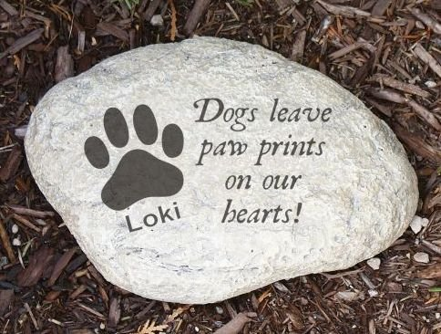 engraved dog memorial stone