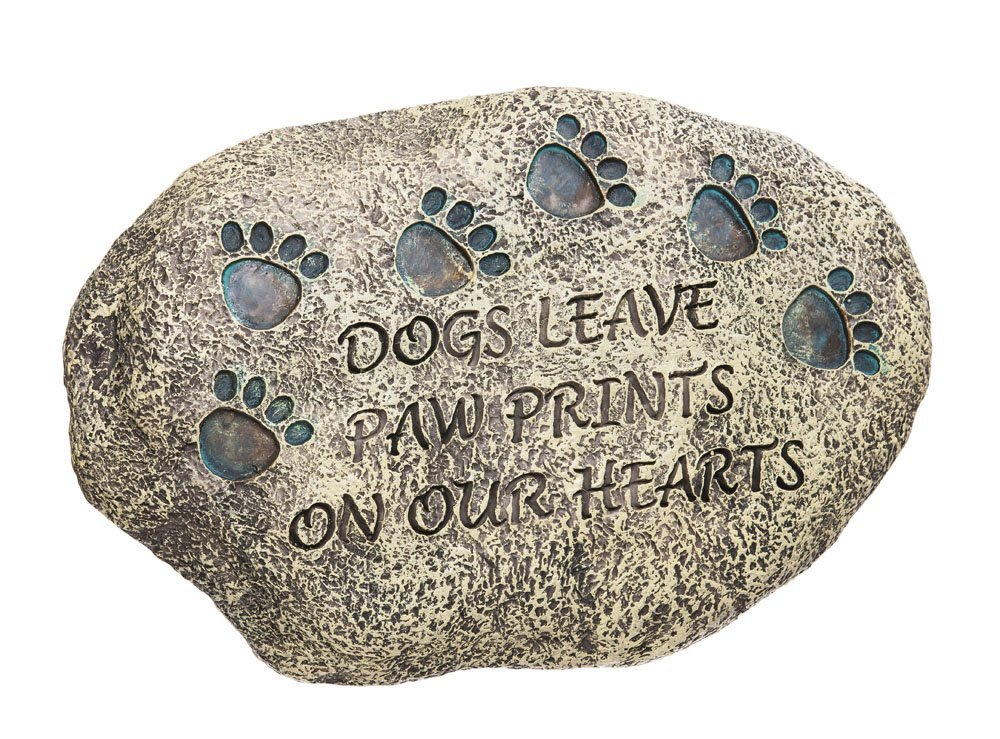 dogs leave paw print memorial stone