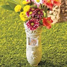 Memorial Vases Granite Plastic Monument Gravestone
