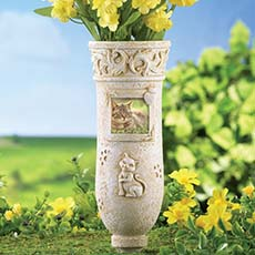 Memorial Vases Granite Plastic Monument Gravestone Memorial Vase For Cemetery